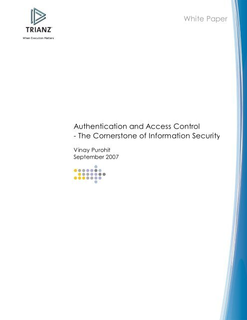 Authentication and Access Control - The     - Tutorials Point