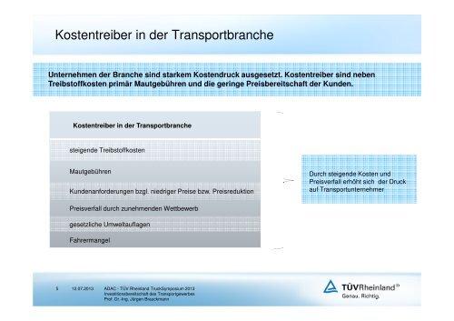 Investitionsbereitschaft des Transportgewerbes - Tuv