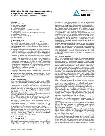 MEEI Kft. a TÜV Rheinland Csoport tagjának Vizsgálati és ... - Tuv