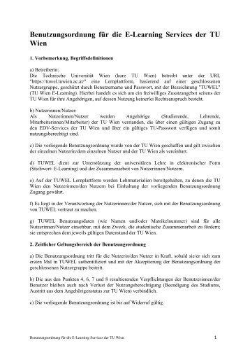 Benutzungsordnung für die E-Learning Services der TU Wien