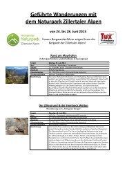 Geführte Wanderungen mit dem Naturpark Zillertaler Alpen - Tux