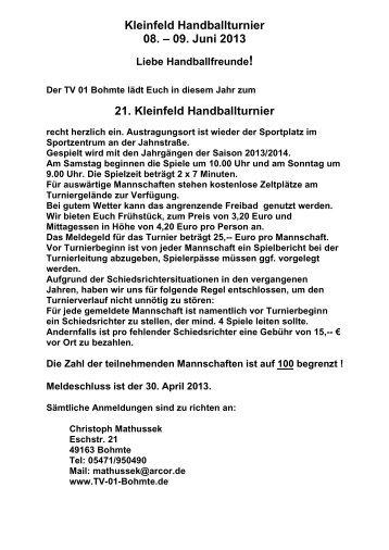 21. Kleinfeld Handballturnier - TV 01 Bohmte eV
