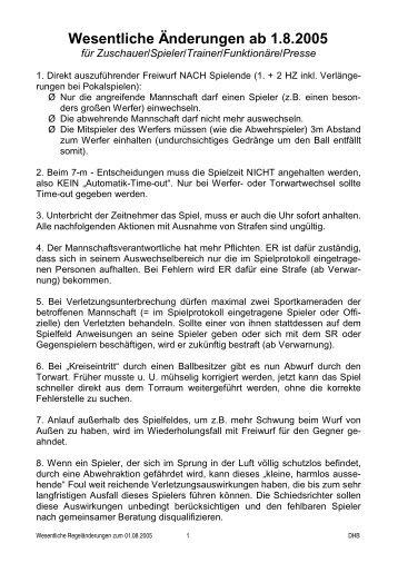 Wesentliche Änderungen ab 1.8.2005 - TV Glattbach