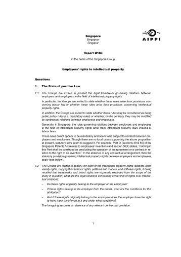 Singapore Singapour Singapur Report Q183 in the name of ... - AIPPI