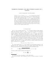 FROBENIUS PROBLEM AND THE COVERING RADIUS OF A ...
