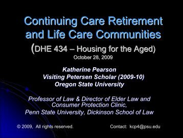 Continuing Care Retirement and Life Care Communities