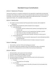Model Constitution for Student Organizations - Penn State Law