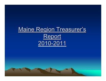Treasurer's Report 2011 - National Ski Patrol Maine Region Home ...