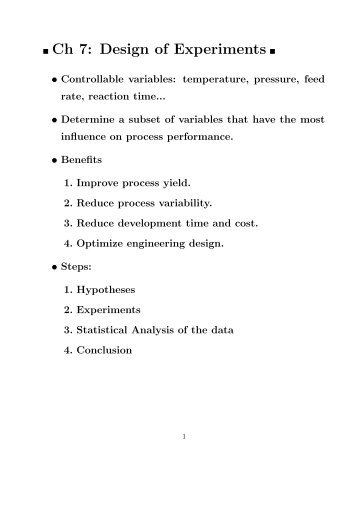 Ch 7: Design of Experiments