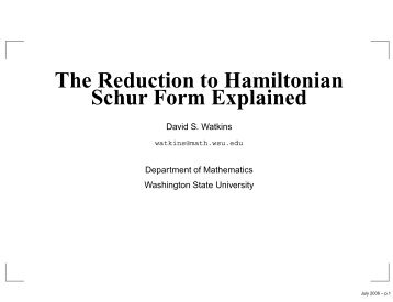 The Reduction to Hamiltonian Schur Form Explained