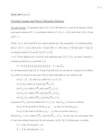 p. 1 Math 490 Notes 23 Urysohn's Lemma and Tietze's Extension ...