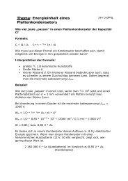 Energieinhalt eines Plattenkondensators - Gymnasium Horkesgath