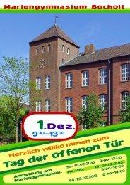 Flyer zum Tag der offenen Tür am Mariengymnasium