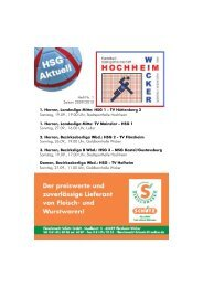 1. Herren, Landesliga Mitte: HSG 1 - TV Hüttenberg 2 ... - TV Wicker