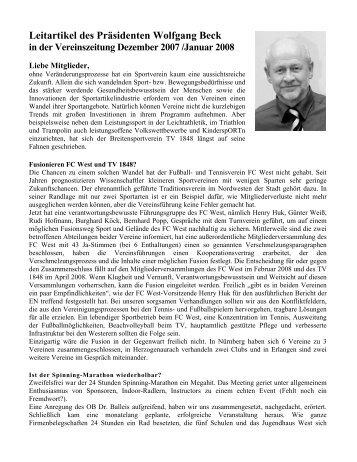 Leitartikel des Präsidenten Wolfgang Beck in der TV-Zeitung ...