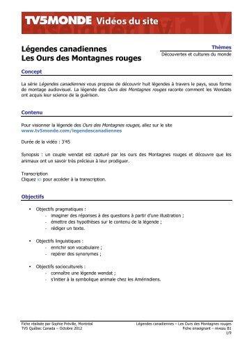 Légendes canadiennes Les Ours des Montagnes rouges - TV5 Monde