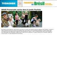 08h00 Promenade canine dans le jardin Paulista - TV5 Monde