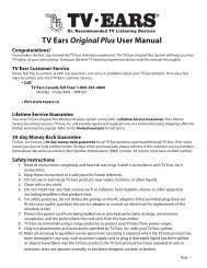 to view the Installation Manual - TV Ears Canada