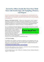 EnviroFry Offers Seattle Do-Your-Own Mold Tests with Scotch Tape Lift Sampling, Pictures, Lab Report