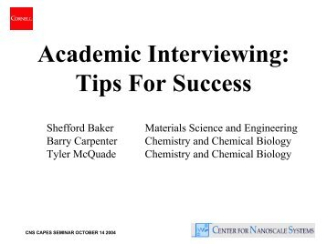 Academic Interviewing: Tips For Success  Interviewing Tips