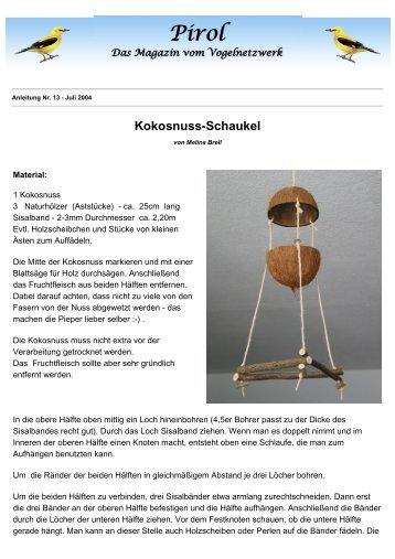 Kokosnuss-Schaukel - Pirol