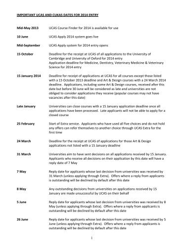 IMPORTANT UCAS AND CUKAS DATES FOR 2013 ENTRY 14 May ...