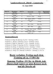 Boote verladen: Freitag nach dem Training ab ca. 17:00 Uhr ...