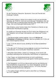 An alle Teilnehmer, Besucher, Sponsoren, Fans ... - TV 1865 Kraiburg