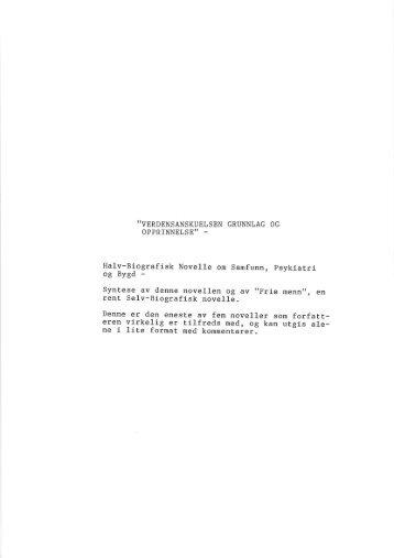 Verdensanskuelsens Grunnlag og Opprinnelse - August Sommerstad.