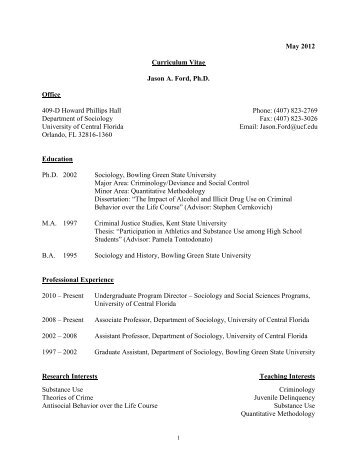 CURRICULUM VITAE - UCF Sociology - University of Central Florida