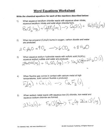 Word Equations Worksheet Answers Plus Write A Word Equation A ...