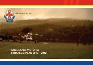 AMBULANCE VICTORIA STRATEGIC PLAN 2010 – 2012