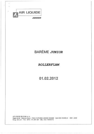 Page 1 BARÈME JUNIOR AIR LIQUIDE BäLGlUM sa-nv Siège ...
