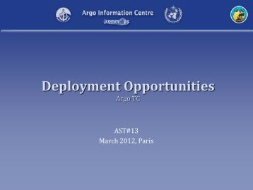 Float deployment opportunities - Argo