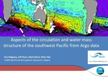 Aspects of the water masses and circulation in the southwest ... - Argo