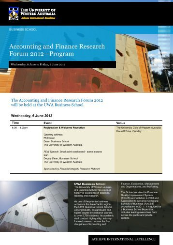Accounting and Finance Research Forum 2012—Program - Business ...