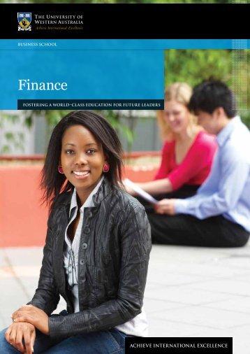 Finance - Business School - The University of Western Australia