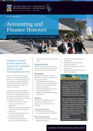 Accounting and Finance Honours - Business School