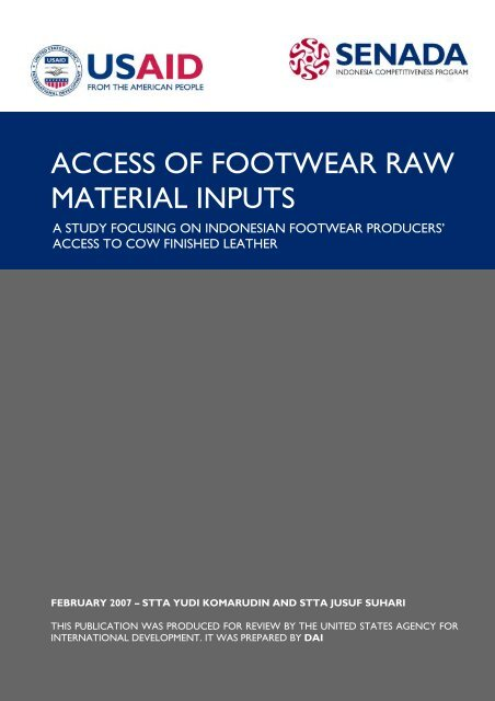 ACCESS OF FOOTWEAR RAW MATERIAL INPUTS - part - USAid