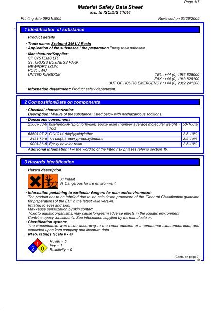 Spabond 340LV Resin MSDS - Jamestown Distributors