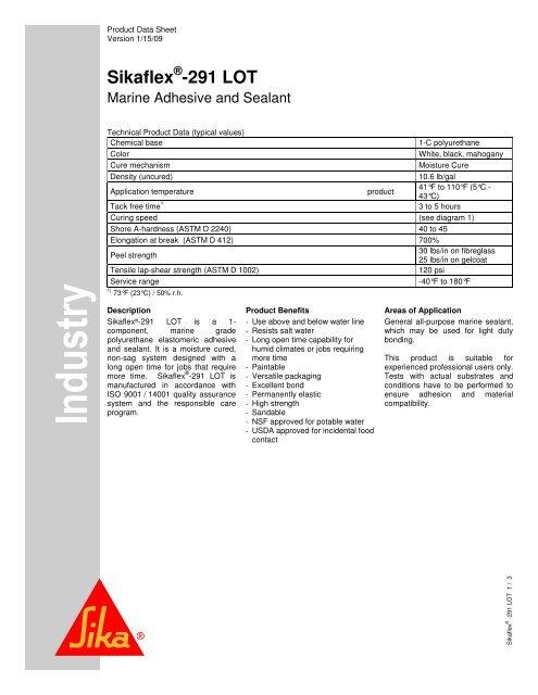 PDF] Sikaflex®-291 LOT PDS - Sika Corporation US
