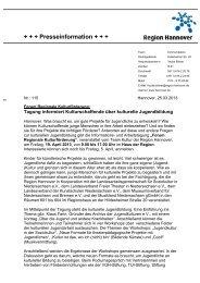 Pressemitteilung der Region Hannover vom 25.03.2013