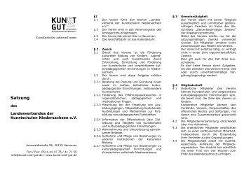 Satzung - KUNST & GUT >> Startseite