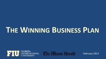 THE WINNING BUSINESS PLAN - FIU College of Business
