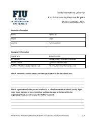 Mentee Application Form - FIU College of Business - Florida ...