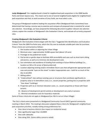 Wedgwood's Site Evaluation Criteria