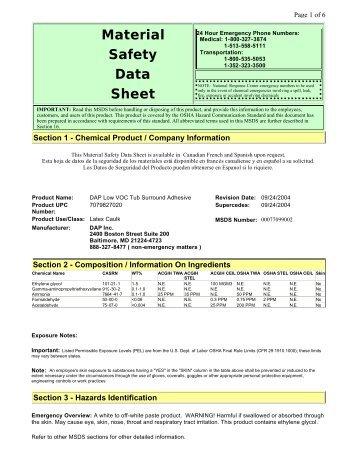 Material Safety Data Sheet - Dap