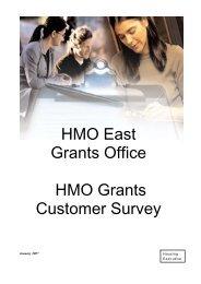 HMO East Grants Office - Customer Satisfaction Survey
