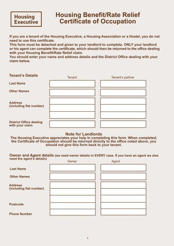 Housing Benefit/Rate Relief Certificate of Occupation form