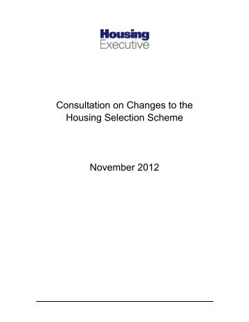 The Housing Selection Scheme Consultation Paper - Northern ...